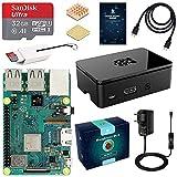 LABISTS Raspberry Pi 3 Modèle B Plus (3 B+) Starter Kit avec 32 Go Classe 10 Micro SD Carte, 5V 3A Alimentation Interrupteur Marche/Arrêt, Boîtier Noir, 2 Dissipateur Thermique en Cuivre, Câble HDMI