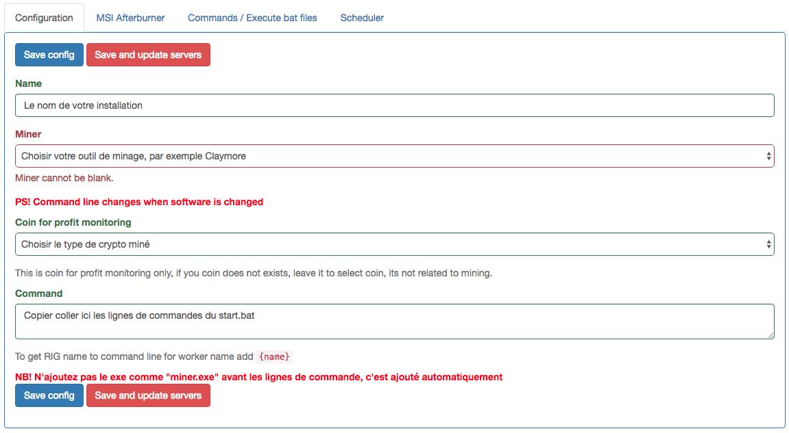 Configuration du monitoring d'un RIG